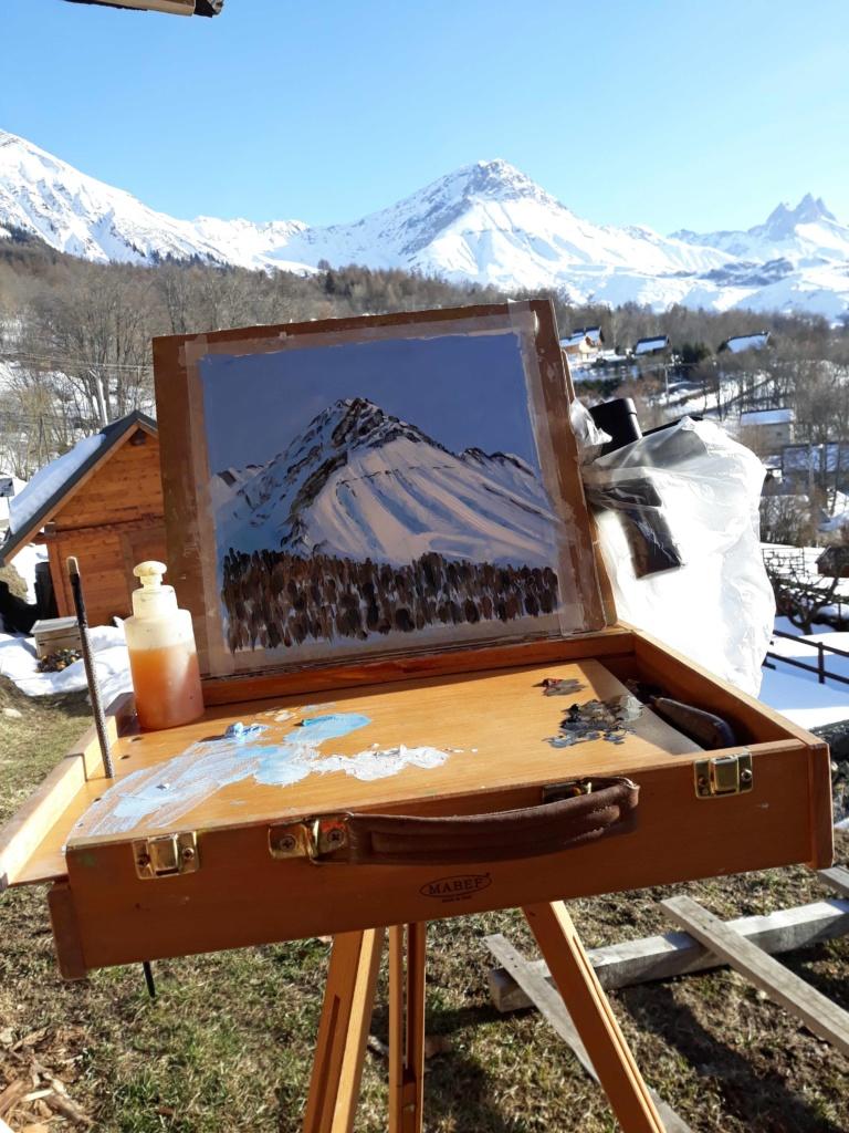 Chevalet de campagne dans les montagnes