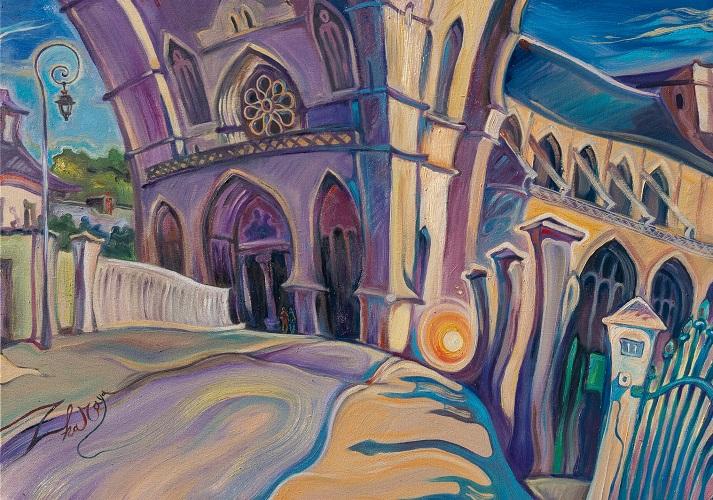La collegiale Notre Dame 60X80 huiles sur toile
